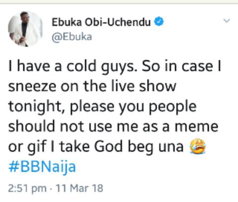 Ebuka Begged BBNaija Fans, Don't Use My Face For Memes And Gifs'