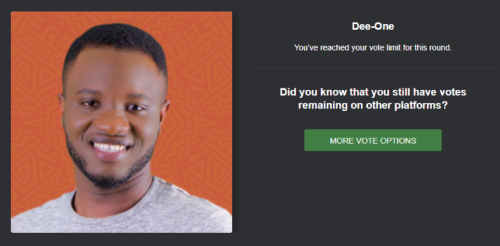 How To Vote DEE-ONE Back To BBNAIJA House For Free On The Website And SMS