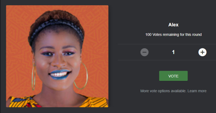 Voting Alex BBNaija for Free on the Mobile Site, Desktop Site and SMS Code