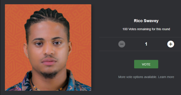 Voting Rico Swavey BBNaija for Free on the Mobile Site, Desktop Site and SMS Code