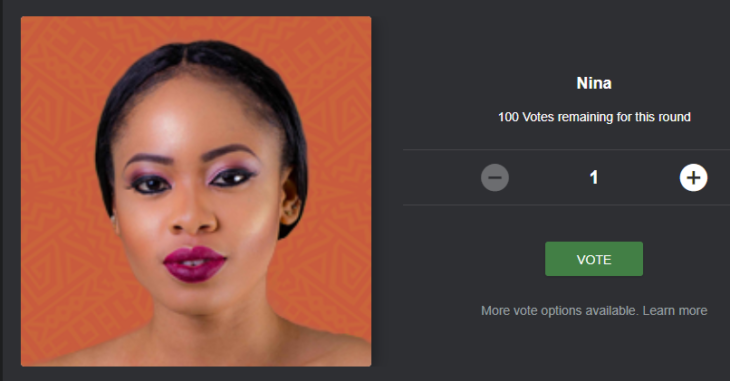 BBNaija Voting Nina for Free on the Mobile Site, Desktop Site and SMS Code