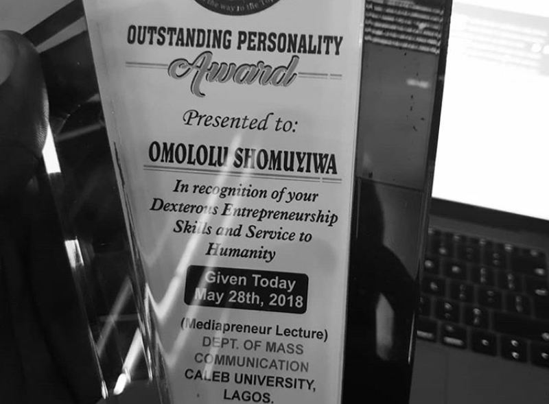 "BBNaija Lolu honoured with an ""Outstanding Personality"" award at Caleb University, Lagos"