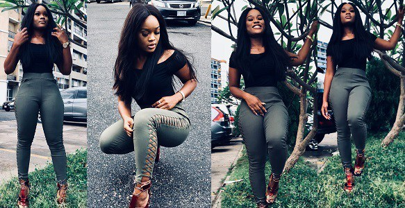 BBNaija Cee-C shares news photos in Laced up fashion pants