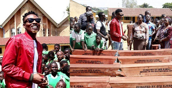 2017 BBnaija winner, Efe donates classroom desks to ECWA and RCM Kabong Primary School