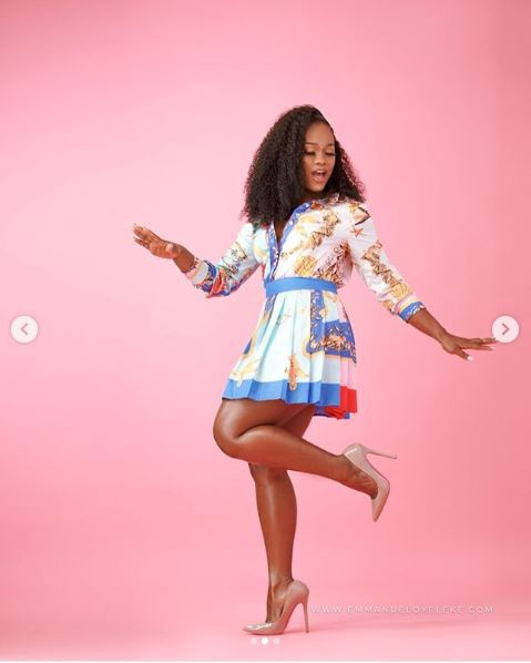 CeeC BBNaija shares new photos with short gown in Karate style (PHOTOS)