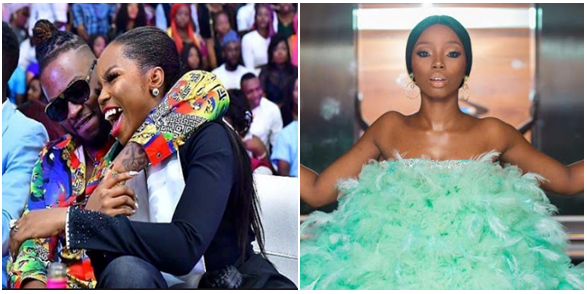 Teddy A finally reacts to Bam Bam's trending outfit to the AMVCA 2018