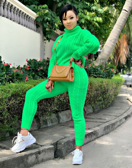 Nina stepped out in All Green Outfit with a Motivational Write-ups