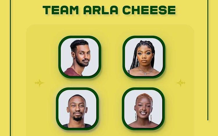 Team Arla Cheese (Yousef, Angel, Saga, and Saskay) won the Arla task for week 8 with cash prise of N1.5 Million and Arla products.